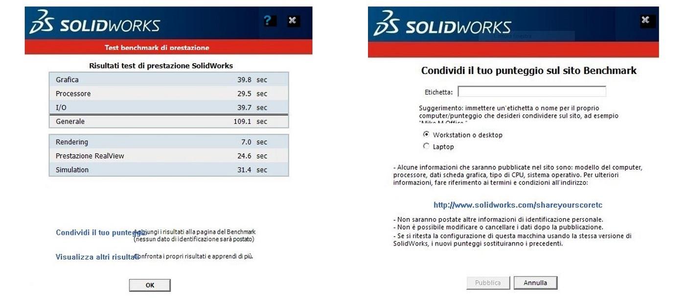 risultati test solidworks